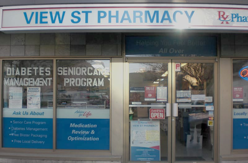 View Street Pharmacy storefront, located at 867 View Street in downtown Victoria, BC.